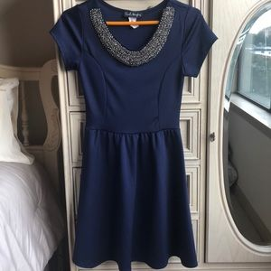 Blue Fit & Flare Mini Dress with Necklace Detail